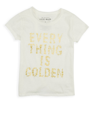 Girls 7-16 Lucky Brand Foil Graphic Tee,IVORY,large