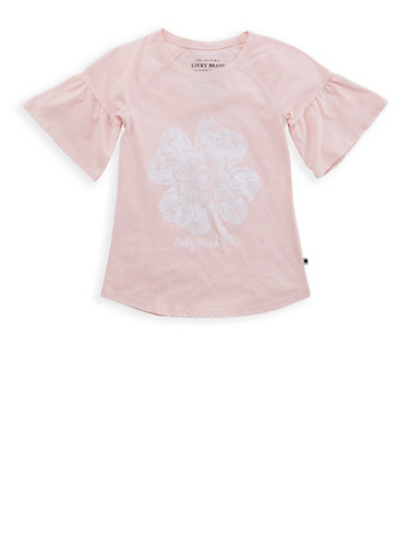 Girls 7-16 Lucky Brand Clover Graphic Tee,BLUSH,large