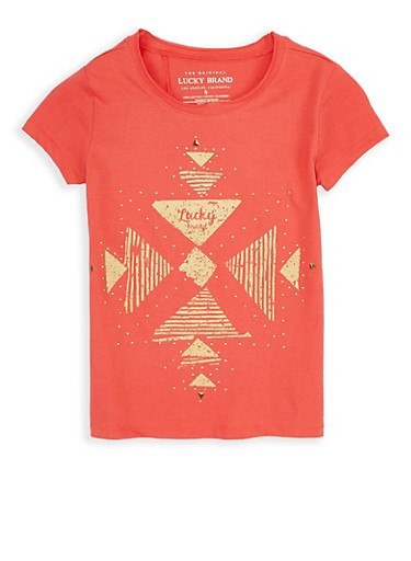 Girls 7-16 Lucky Brand Studded Graphic Tee,CORAL,large