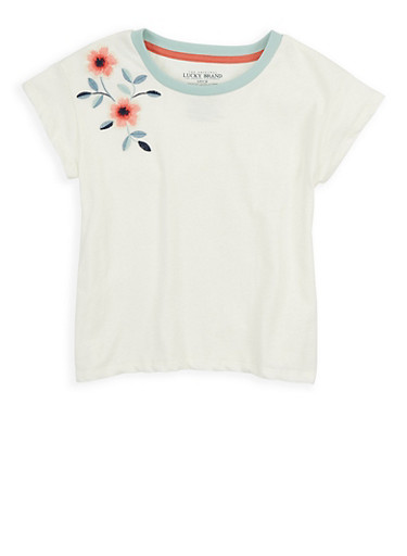 Girls 7-16 Lucky Brand Floral Embroidered Tee,IVORY,large