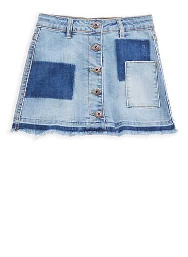 Girls 7-16 Lucky Brand Frayed Denim Skirt,MEDIUM WASH,large