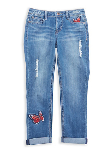 Girls 7-16 Lucky Brand Embroidered Jeans,MEDIUM WASH,large