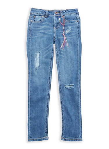 Girls 7-16 Lucky Brand Distressed Jeans,MEDIUM WASH,large