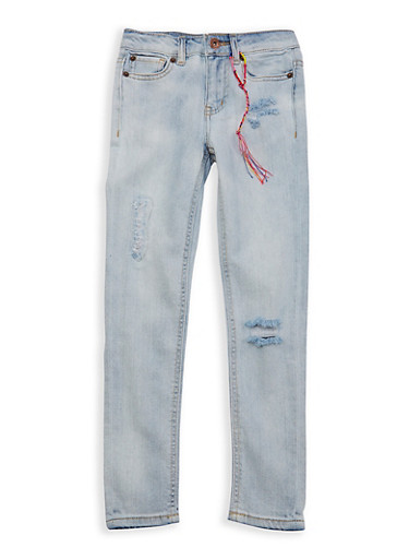 Girls 7-16 Lucky Brand Distressed Skinny Jeans,LIGHT WASH,large