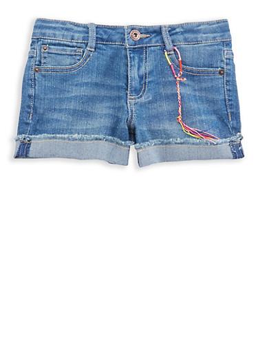 Girls 7-16 Lucky Brand Whisker Wash Denim Shorts,MEDIUM WASH,large