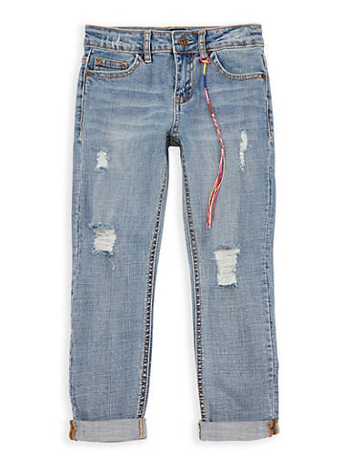 Girls 7-16 Lucky Brand Distressed Boyfriend Jeans,MEDIUM WASH,large