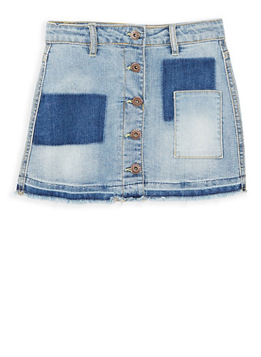 Girls 7-16 Lucky Brand Button Front Denim Skirt,LIGHT WASH,large