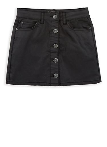 Girls 7-16 Lucky Brand Coated Denim Skirt,BLACK,large