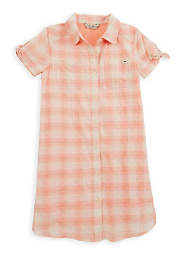 Girls 7-16 Lucky Brand Plaid Button Front Dress,BLUSH,large