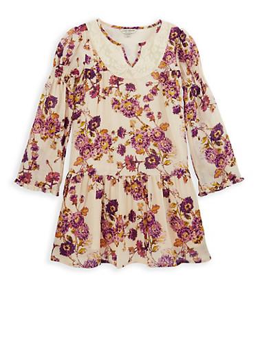 Girls 7-16 Lucky Brand Floral Print Dress,BLUSH,large