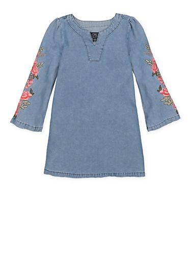 Girls 7-16 Lucky Brand Embroidered Denim Dress,MEDIUM WASH,large