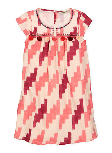Girls 7-16 Lucky Brand Printed Shift Dress,PINK,large