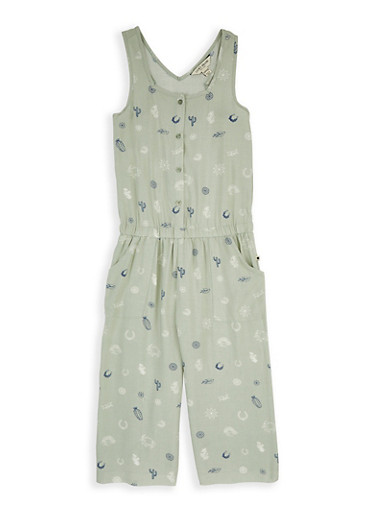 Girls 7-16 Lucky Brand Printed Jumpsuit,GREEN,large