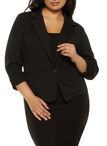 Plus Size Ruched Sleeve One Button Blazer,BLACK,large