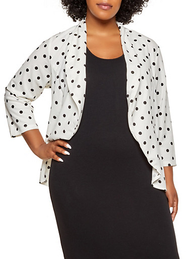 Plus Size Polka Dot High Low Blazer by Rainbow