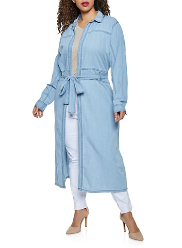 Plus Size Tie Waist Chambray Duster,LIGHT WASH,large