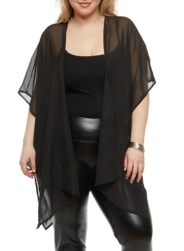 Plus Size Ladder Back Kimono,BLACK,large