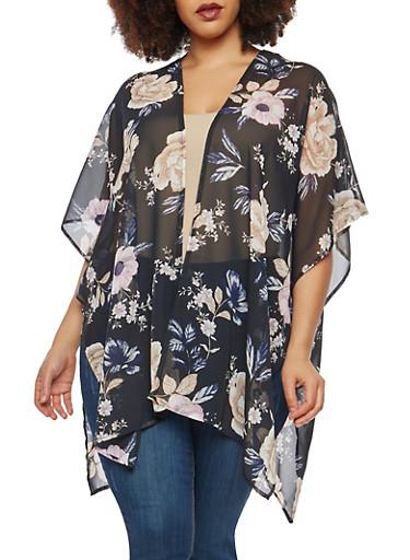 Plus Size Floral Keyhole Back Kimono | Tuggl