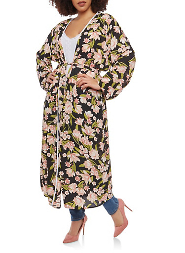 Plus Size Floral Maxi Duster,BLACK,large