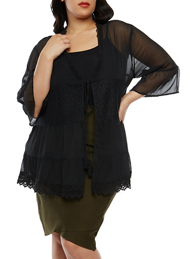Plus Size Tie Front Crepe Knit Kimono,BLACK,large