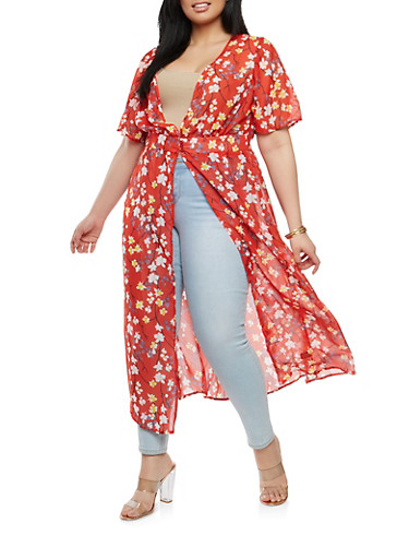 Plus Size Floral Duster,RED,large