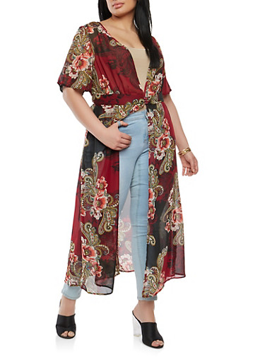 Plus Size Printed Duster,BURGUNDY,large