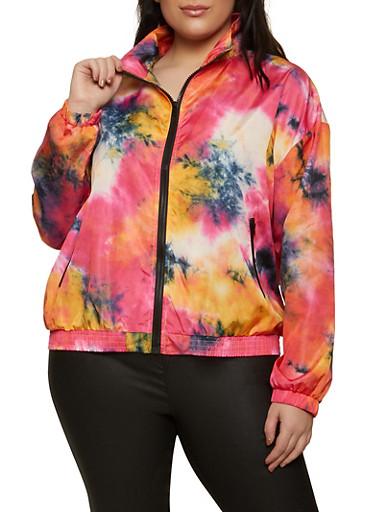 Plus Size Tie Dye Windbreaker Jacket,FUCHSIA,large