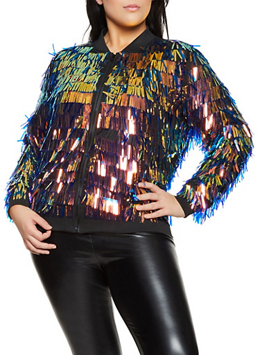Plus Size Sequin Mesh Bomber Jacket,MULTI COLOR,large