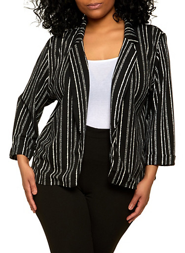 Plus Size Striped Cuffed Sleeve Open Front Blazer,BLACK/WHITE,large