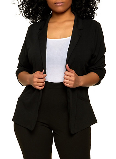Plus Size Open Front Ruched Sleeve Blazer,BLACK,large