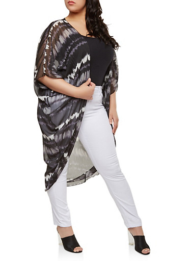 Plus Size Tie Dye Sheer Duster,BLACK,large