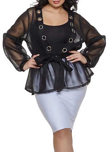 Plus Size Belted Mesh Jacket,BLACK,large