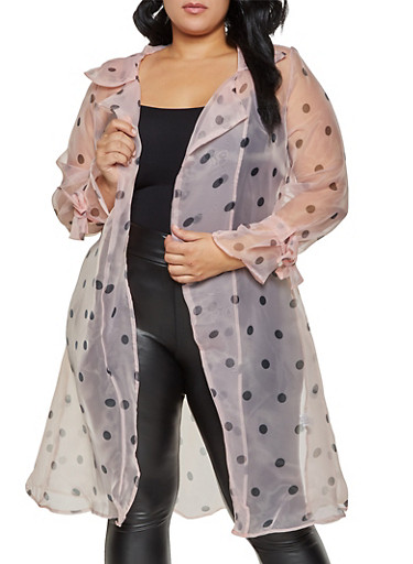 Plus Size Polka Dot Organza Duster,BLUSH,large