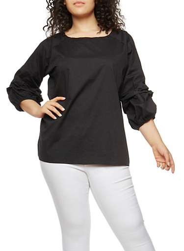 Plus Size Ruched Bubble Sleeve Top,BLACK,large