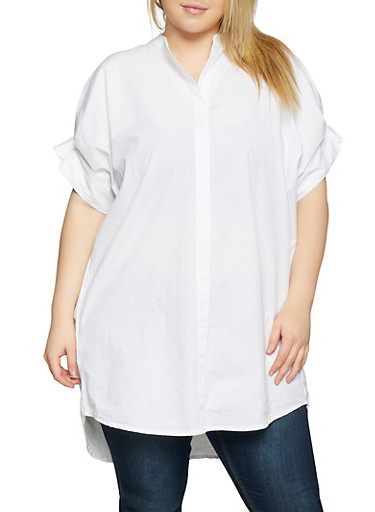 Plus Size Pleated Sleeve Tunic Top,WHITE,large