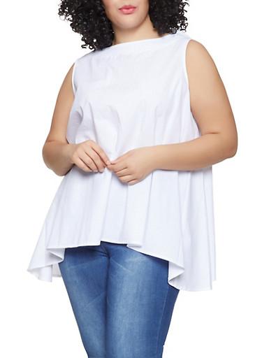 Plus Size Sleeveless Asymmetrical Top,WHITE,large