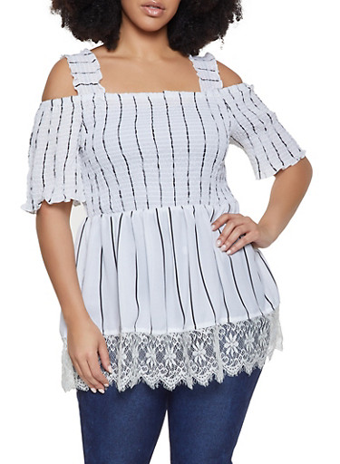 Plus Size Striped Smocked Off the Shoulder Top,WHITE,large