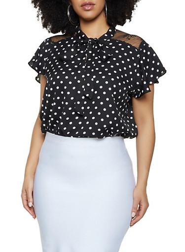 Plus Size Lace Yoke Polka Dot Top,BLACK/WHITE,large