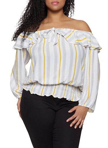 Plus Size Striped Off the Shoulder Ruffle Top,MUSTARD,large