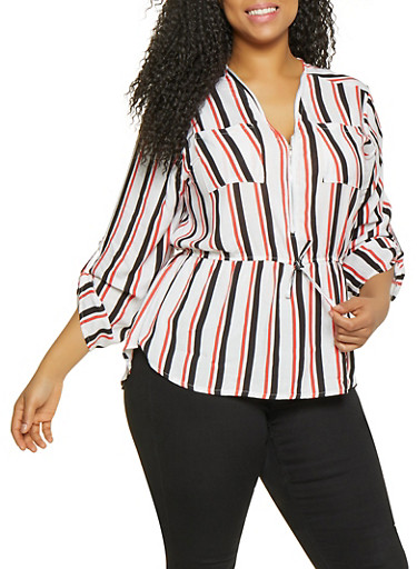 Plus Size Striped Zip Neck Top,RED,large