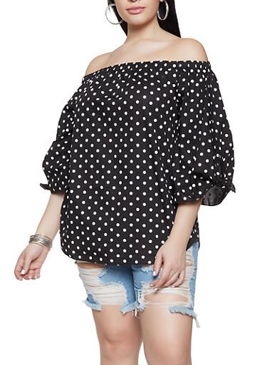 Plus Size Polka Dot Off the Shoulder Top,BLACK,large