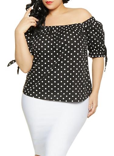 Plus Size Polka Dot Tie Sleeve Top,BLACK,large