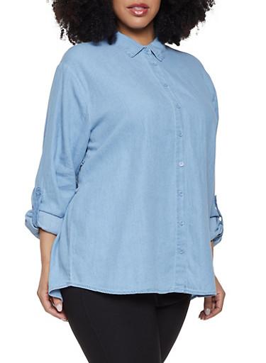 Plus Size Smocked Back Denim Shirt,BABY BLUE,large