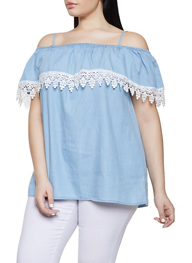 Plus Size Chambray Off the Shoulder Top,BABY BLUE,large