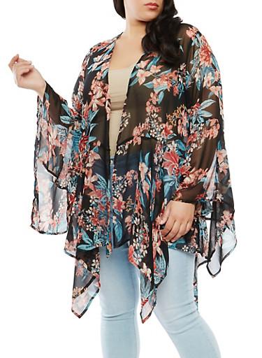 Plus Size Floral Sharkbite Hem Kimono | Tuggl