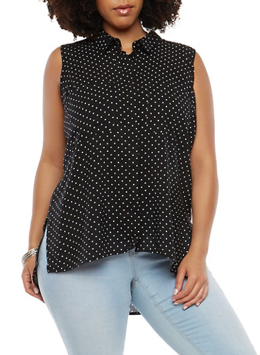 Plus Size High Low Polka Dot Top,BLACK,large