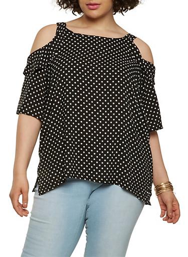 Plus Size Polka Dot Cold Shoulder Top,BLACK,large