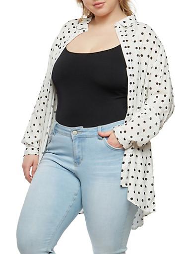 Plus Size Polka Dot Button Front Shirt   Tuggl