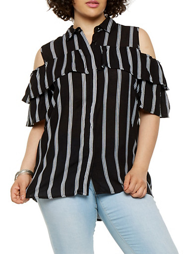Plus Size Striped Cold Shoulder Shirt,WHT-BLK,large