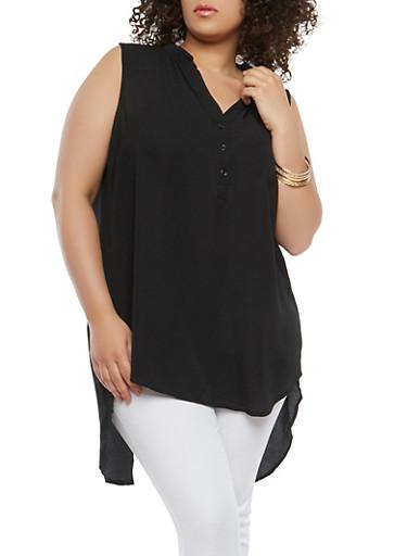Plus Size Split Back High Low Top,BLACK,large